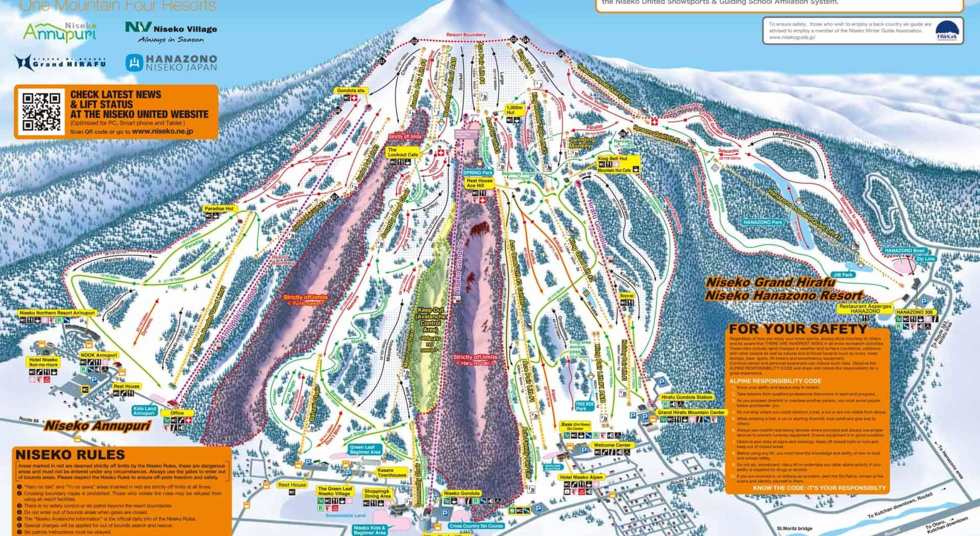 Niseko Piste Map 2015, Japan
