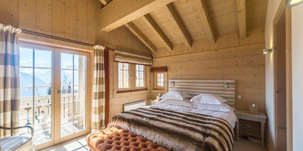 luxury real estate in Switzerland Chalet Belvarde bedroom Verbier