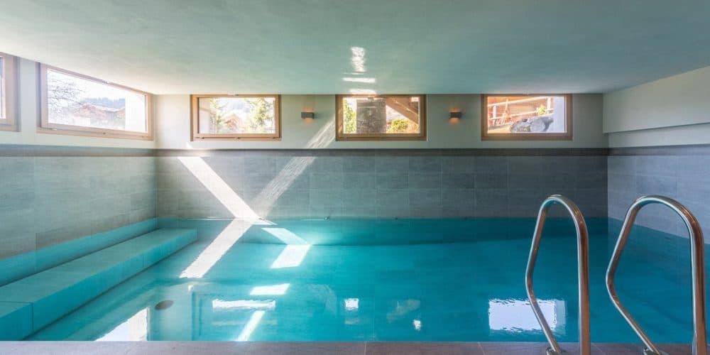 Luxury real estate in Switzerland Chalet Belvarde swimming pool Verbier