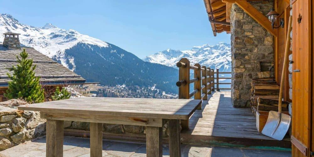 Luxury real estate in Switzerland chalet bourbon balcony Verbier