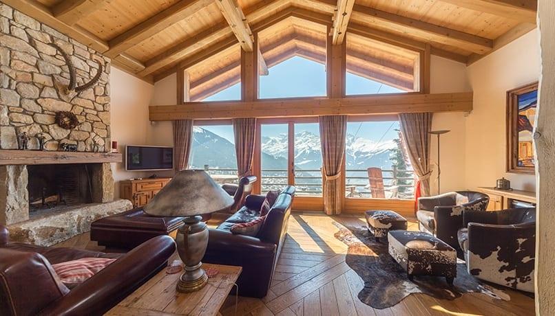 luxury real estate in Switzerland Chalet Bourbon Sitting room Verbier