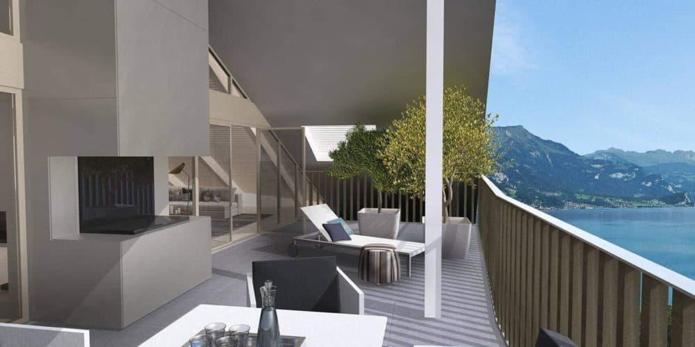 Luxury real estate in Switzerland view over Lake Brienz