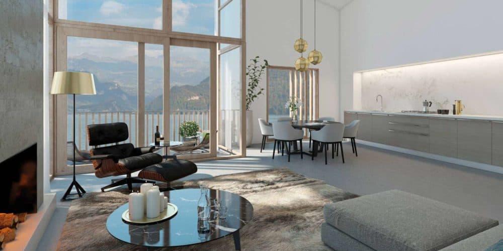 Luxury real estate in Switzerland Florens Lake Brienz open plan