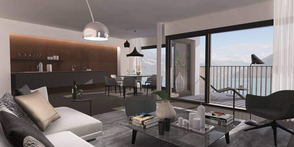 Luxury real estate in Switzerland Florens sitting room Lake Brienz