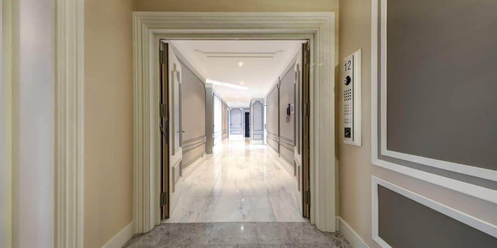 Luxury real estate in Switzerland Pelerin Palace interior front door