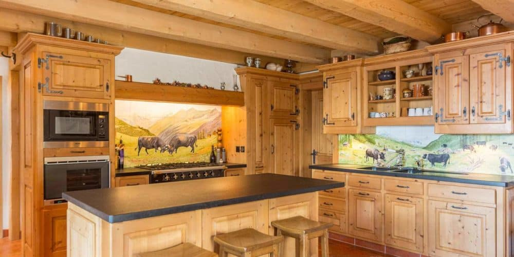 Luxury real estate in Switzerland Chalet Bourbon kitchen Verbier
