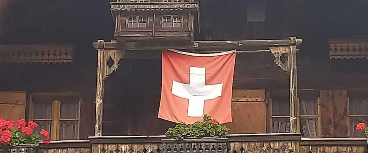 Swiss flag Morgins